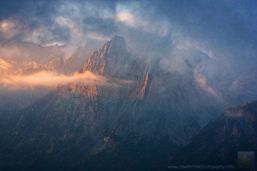 Els Encantats rising Through the Fog at Sunrise, Pyrenees, Spain
